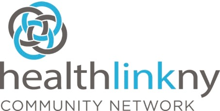 Interlocking gray and blue circles and the healthlinkny Community Network name