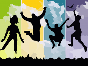 Silhouettes of people jumping to join one of our Health Planning Committees