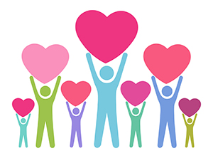 Clip art people hold up hearts