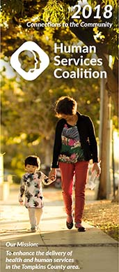 Woman walking with child on the cover of the 2018 Annual Report