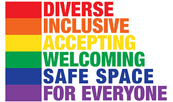 Diverse, Inclusive, Accepting, Welcoming, Safe Space for Everyone! emblem