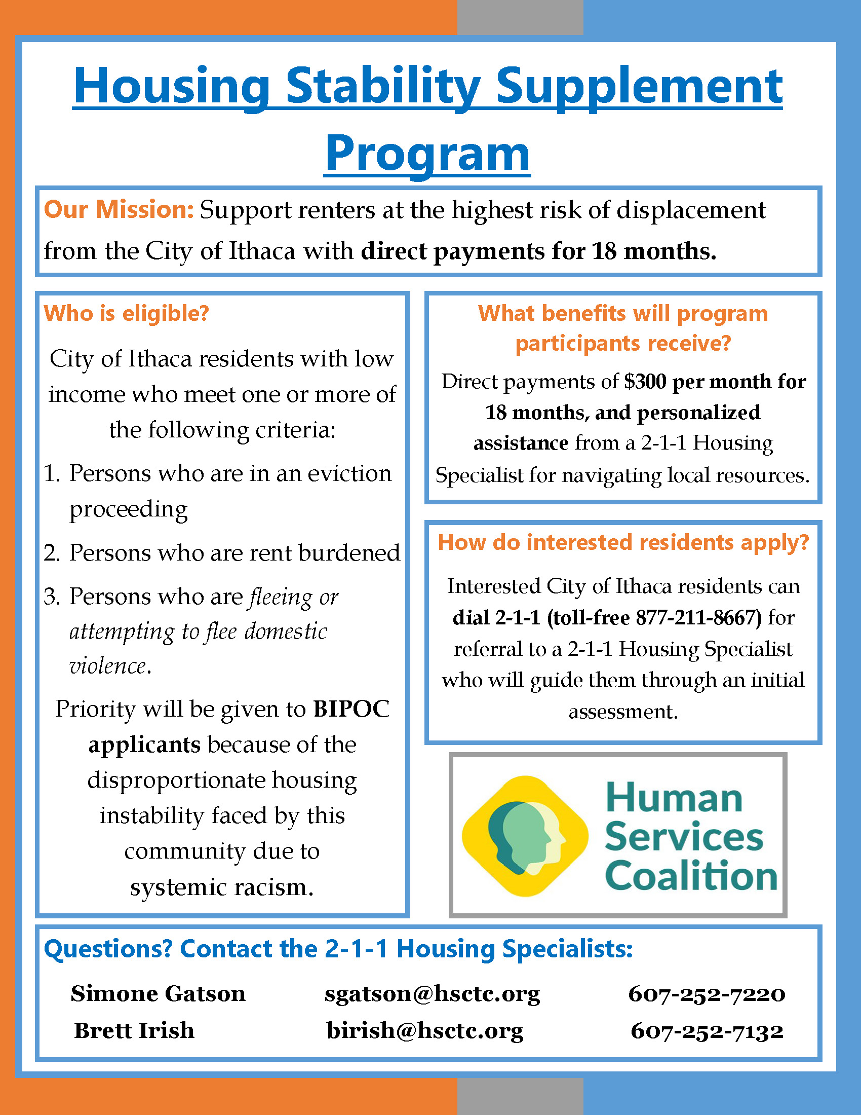 Flyer for the Housing Stability Supplement Program, a part of the IEDD project.